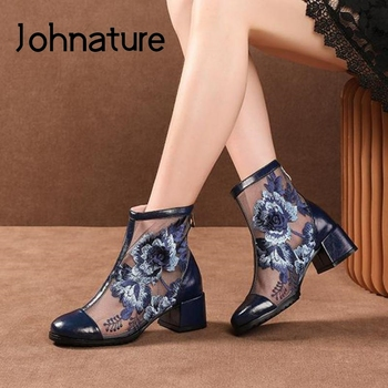 Johnature Summer Boots Genuine Leather Women Shoes Embroider Round Toe Zip 2020 New Handmade Leisure Ankle Platform Summer Boots
