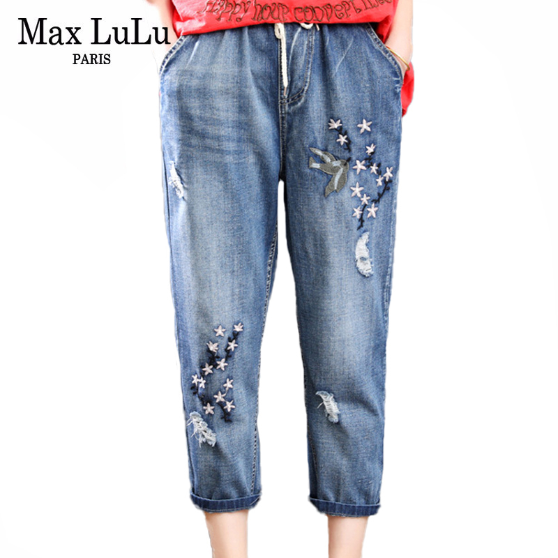 Max LuLu 2020 Summer Fashion Style Ladies Floral Jeans Womens Casual Luxury Embroidery Denim Trousers Vintage Ripped Harem Pants