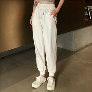 Image 2 - Pants Women Simple Loose Ankle Length Trousers Korean Style Drawstring Students Soft Womens Solid Summer Breathable Ladies Daily