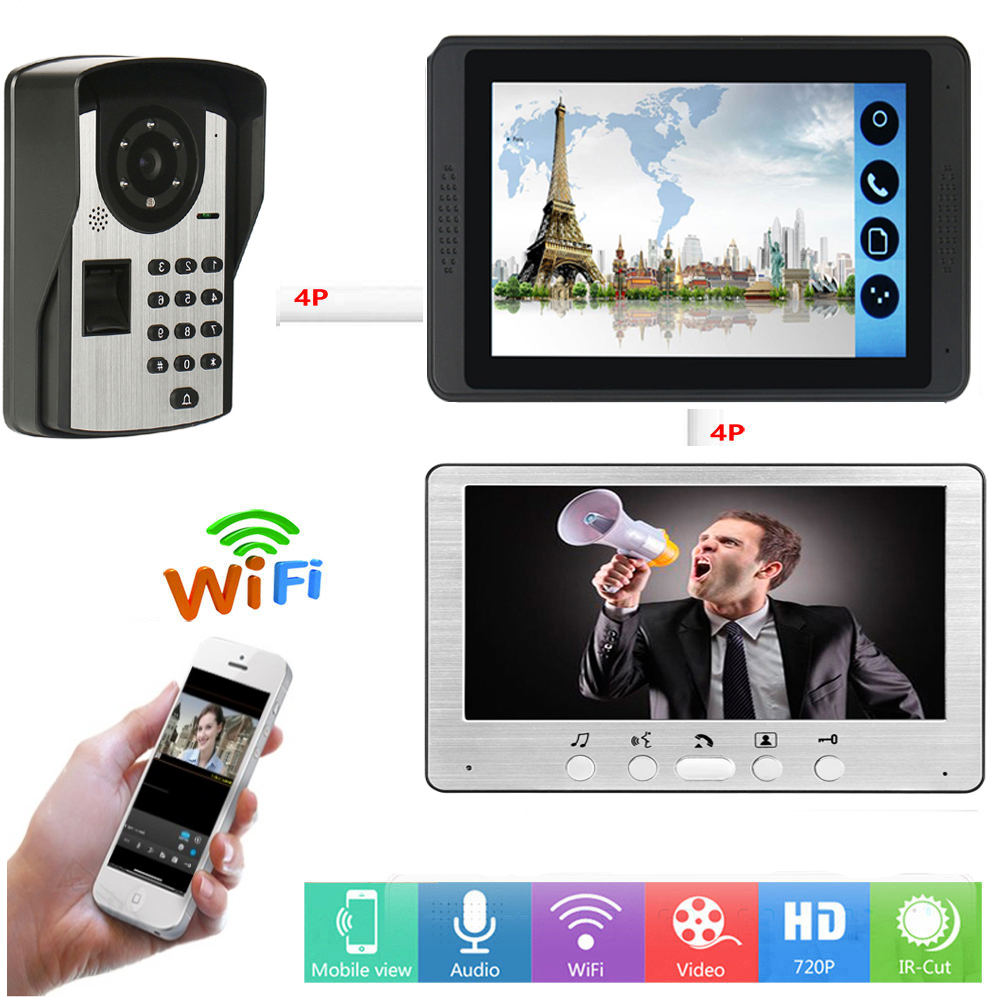 APP Control Fingerprint Password Unlock Video Intercom 7 Inch LCD Wifi Wireless Video Door Phone Doorbell Visual Intercom System
