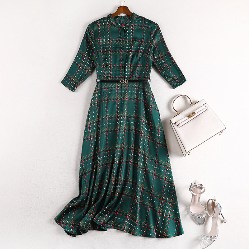 Женское платье в клетку с поясом, зеленое длинное шифоновое платье-трапеция с высокой талией, повседневные праздничные платья макси большо...