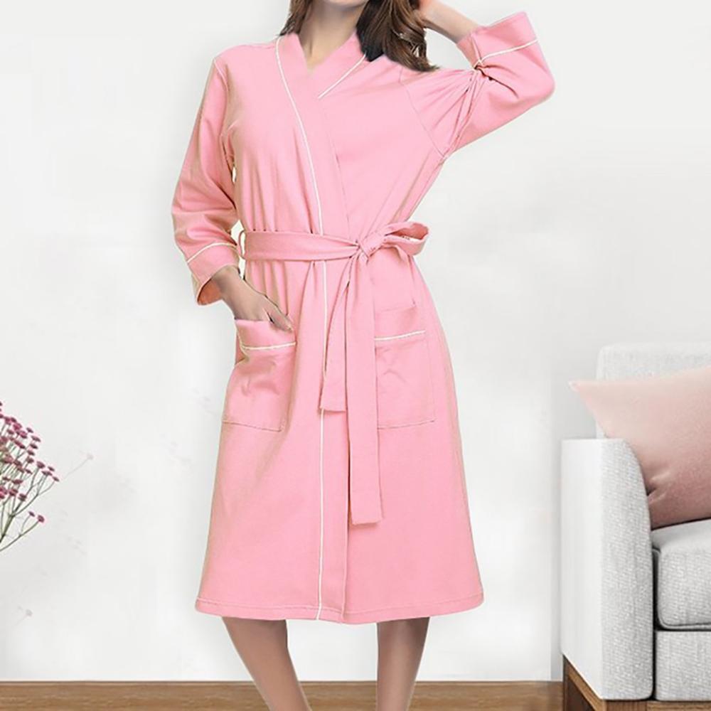 Night Clothes Women Casual Sleepwear Women Sexy Solid Women Summer Cotton Pajamas Nightgown Lingerie Bathrobe With Belt