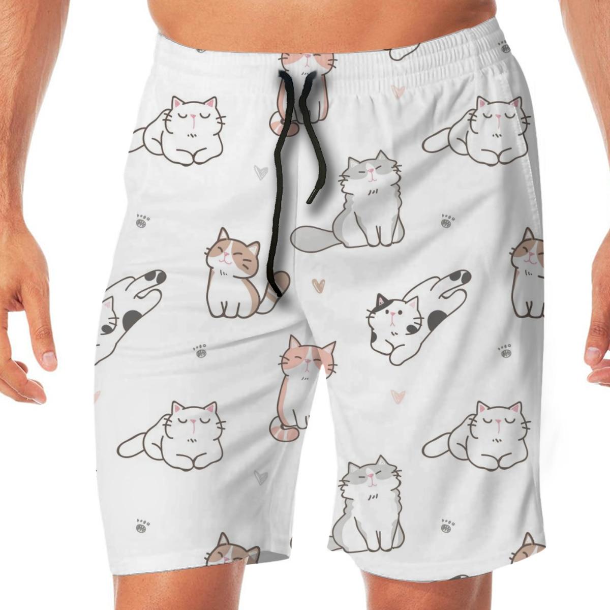 Cartoon Cat Paw Heart Men's Beach Pants Quick Drying Beach Shorts Swimming Surfing Boating Water Sports Trunks Swimwear Shorts