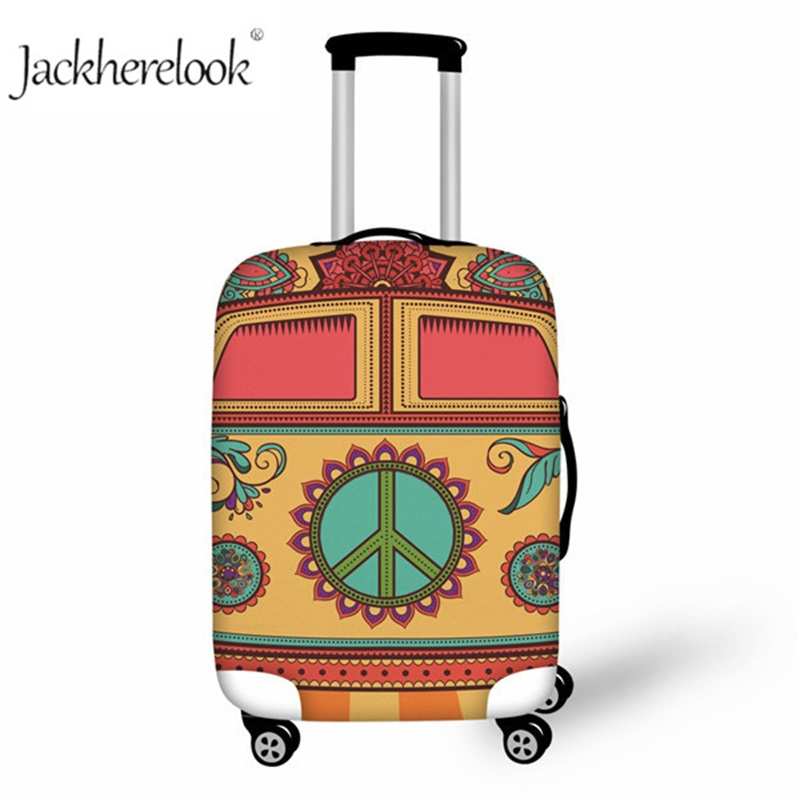 Jackherelook Hippie Bus Pattern Elastic Luggage Cover Fashion Suitcase Protective Cover Suit For 18-30 Inch Trunk Case Dustproof