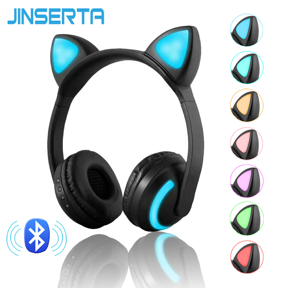 JINSERTA Bluetooth Stereo Cat Ear Headphones Flashing Glowing cat ear headphones Gaming Headset Earphone 7 Colors LED light
