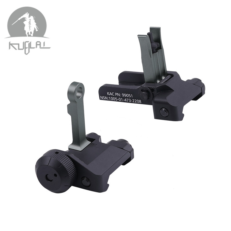 Tactical KAC Style 300M Flip Up Folding Iron Sight Front Rear Sight For Gel Blaster Airsoft Hunting