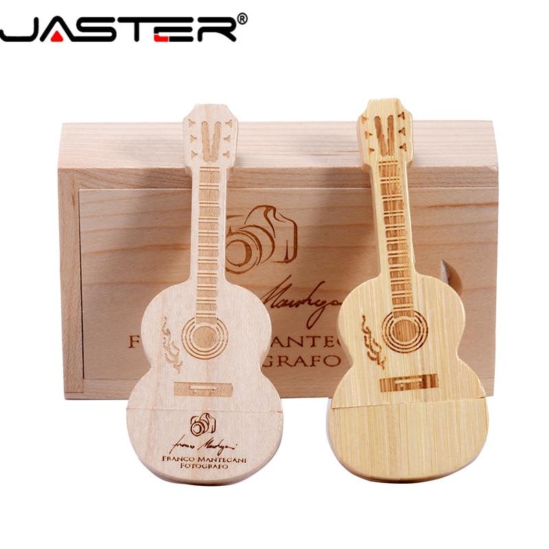 JASTER (free LOGO) Guitar Shaped Pen Drive Wooden Music Usb 2.0 Flash Drive Memory Stick Pendrive 4GB 16GB 32GB 64GB