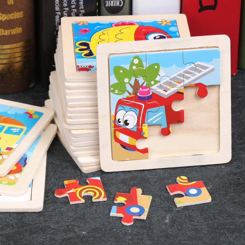 Puzzle Jigsaw For Children Mini Wood Puzzle Size 11*11CM Kids Toy Wooden 3D Baby Cartoon Animal/Traffic Puzzles Educational Toy