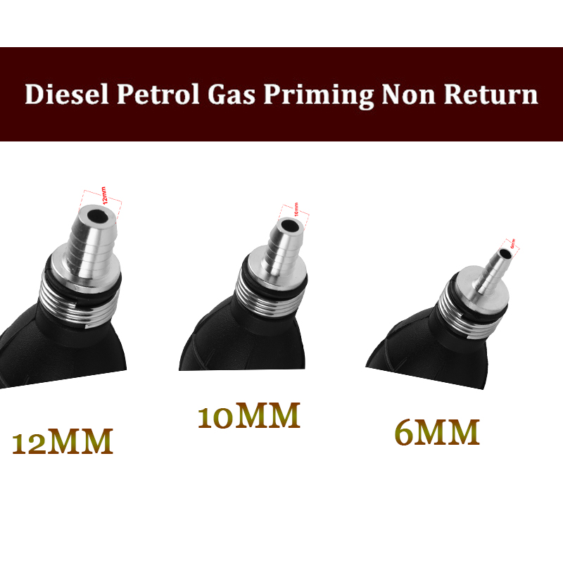 10mm In line pipe Diesel Petrol Fuel bulb Hand Primer Pump with non return valve