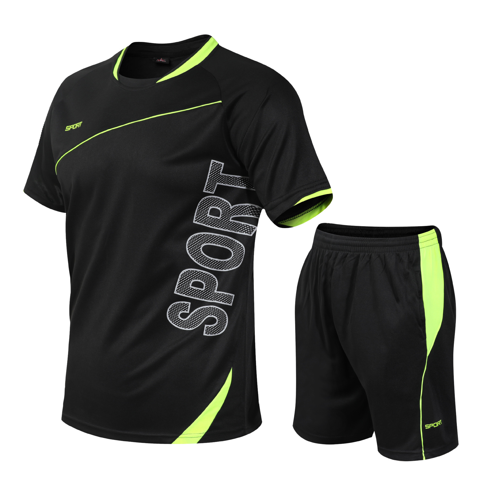 Sports Set Clothes Casual Men's Short-sleeved T-shirt Short Shorts Fitness Plus-sized Men's Wear Quick Drying Clothes Fashion
