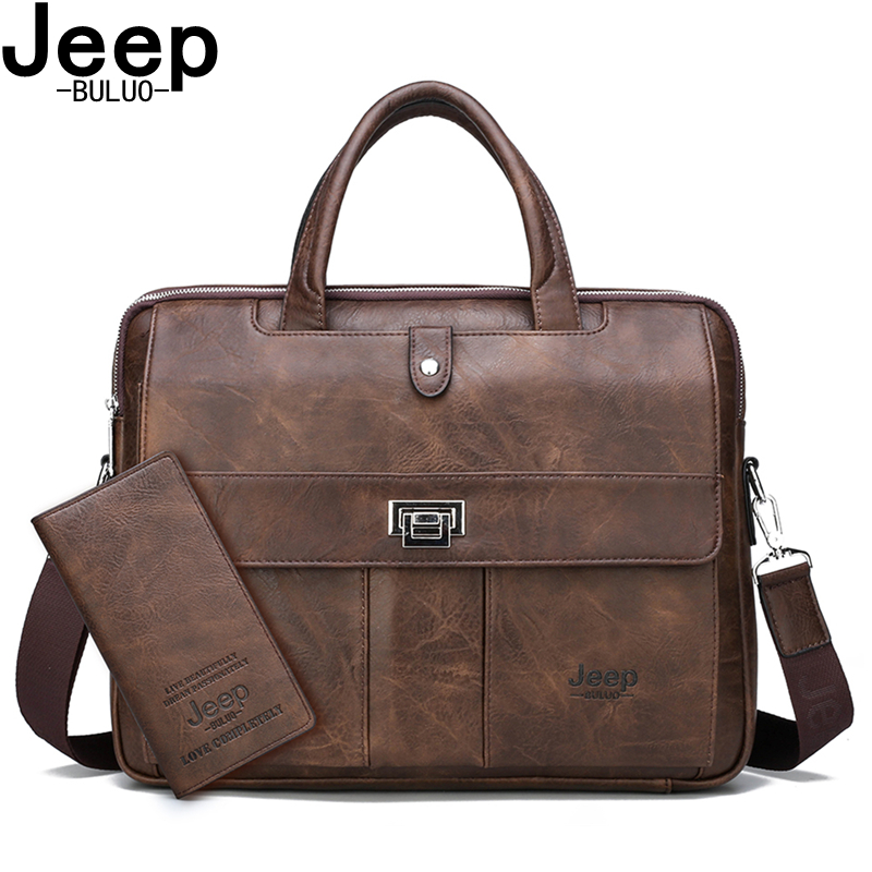 JEEP BULUO Business Travel Handbag Office Business Male Bag For A4 Files Man Briefcase Big Size 15 Inches Laptop Bags Tote Bag