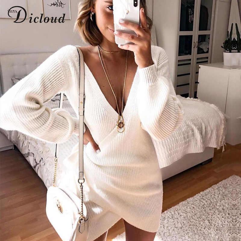 DICLOUD biała dzianinowa sukienka dla kobiet z długim rękawem V Neck wiosna zimowa sweter Mini obcisła sukienka elegancka jednolita odzież damska