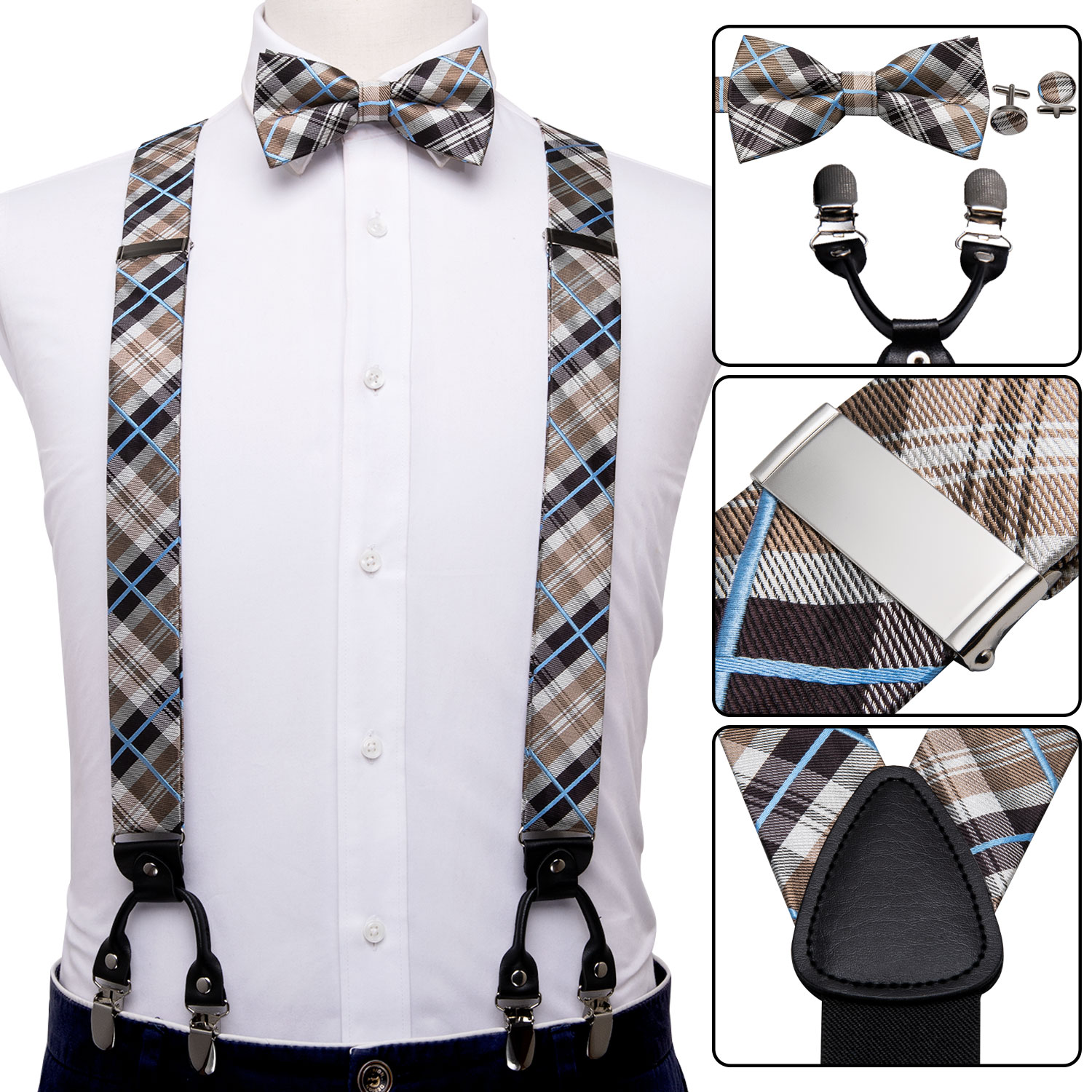 Men Suspender Set Silk Bowtie Plaid Tie Leather Back Belt Vintage Elastic Wedding Suspender Checked Bow Tie Christmas Barry.Wang