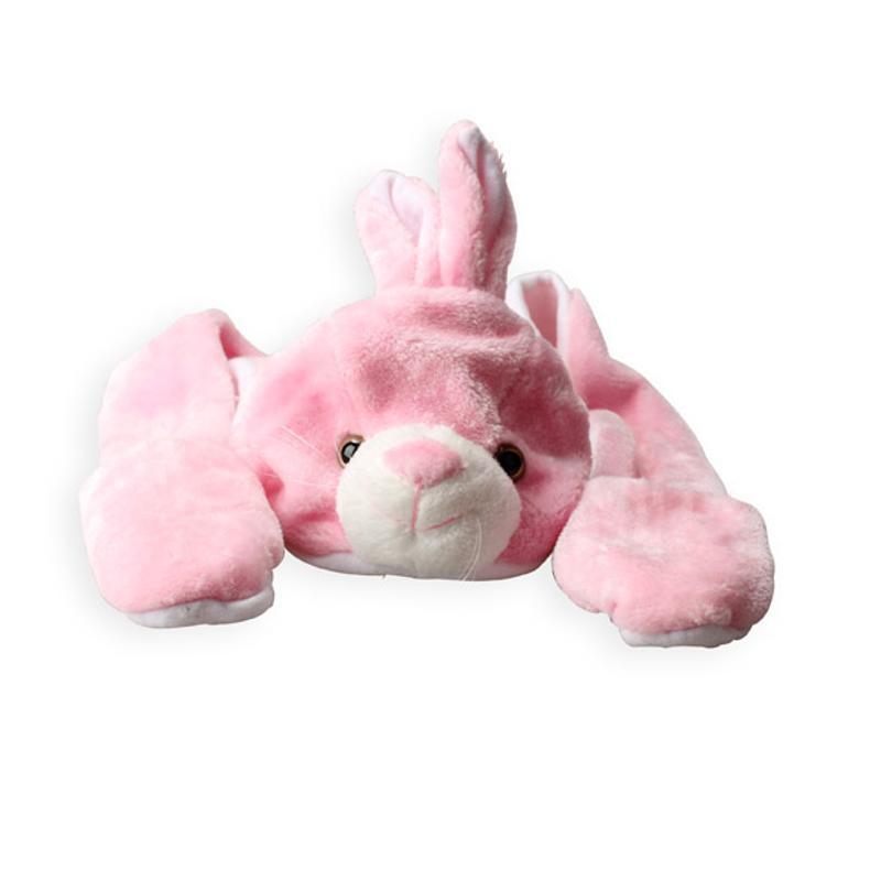 Pink Bunny Hats With Ears Cartoon Plush Warm Cap Hat Earmuff Scarf Gloves Cute Cartoon Animal Hat + Scarf + Gloves All In 1