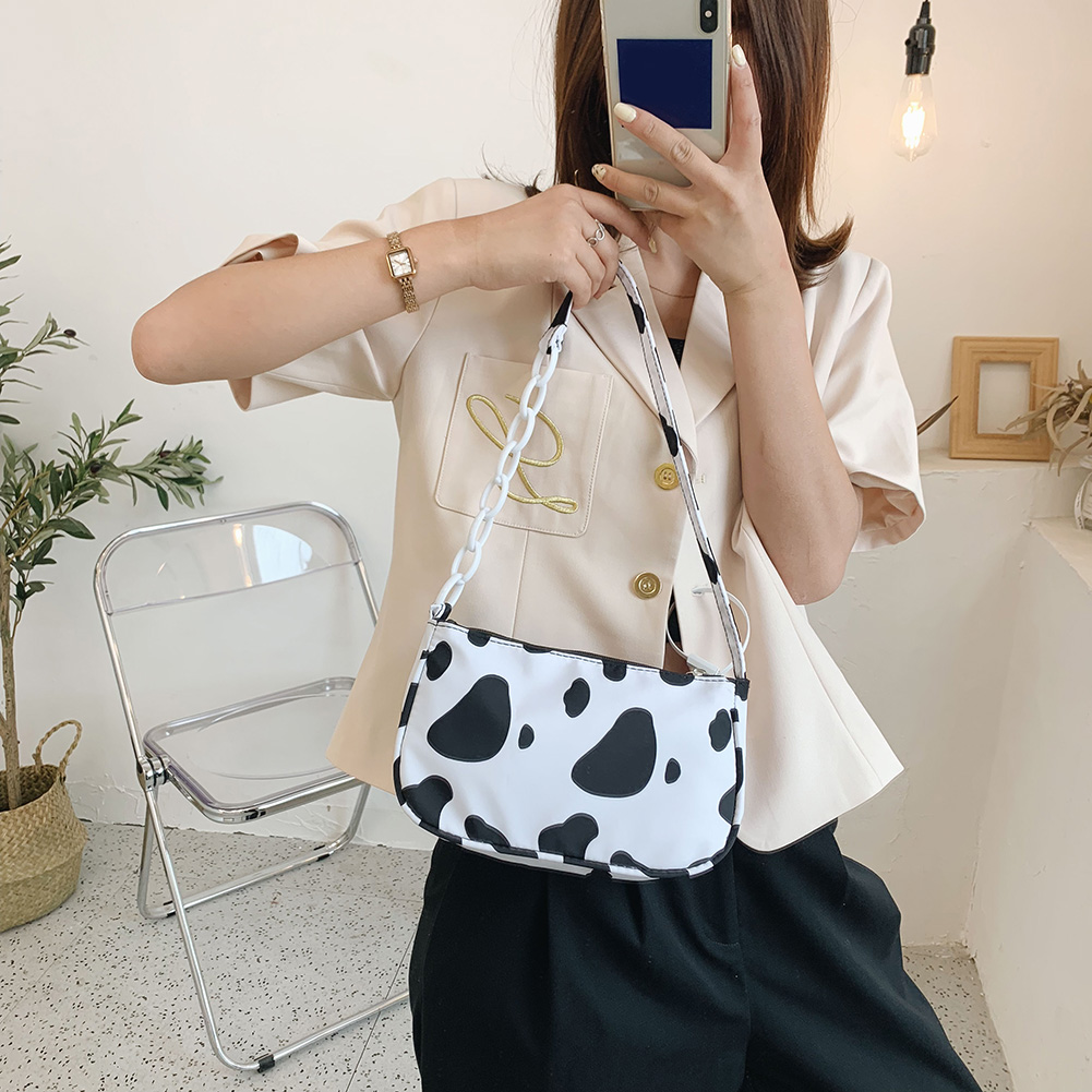 Fashion Cow Milk Print Women Handbag Totes Female Casual Underarm Shoulder Bags Popular Simple Female Daily Bag