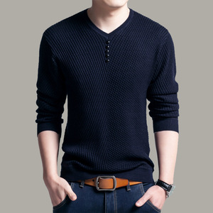 Image 4 - TFETTERS 2020 Men Sweater Casual V Neck Pullover Men Spring Autumn Slim Sweaters Long Sleeve Mens Sweater Knitted Shirt Homme