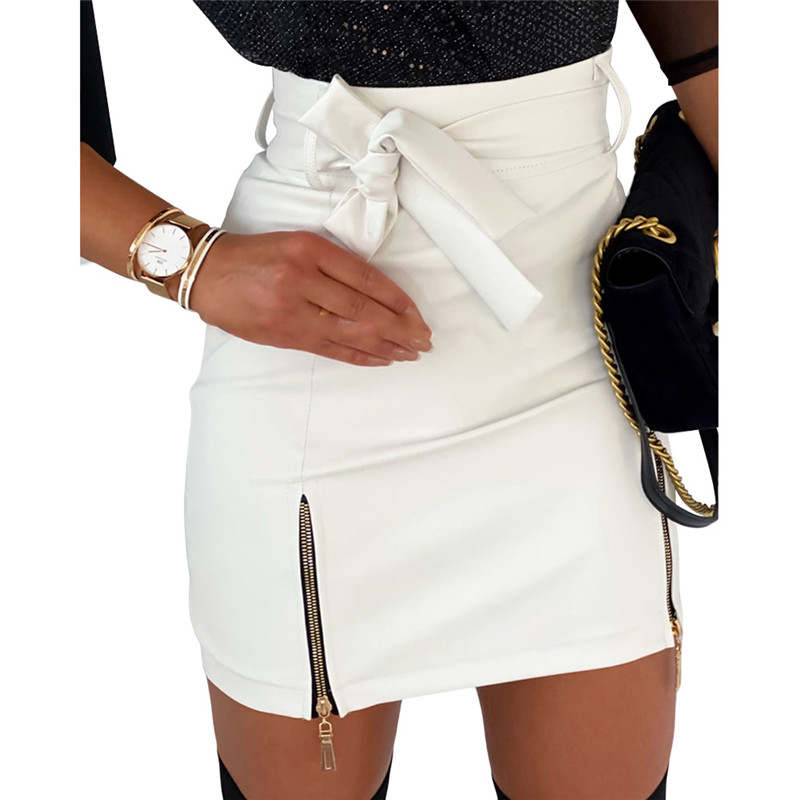 Women Fashion High Waist Skirt Sexy Zip Faux Leather Short Pencil Bodycon Mini Skirt Fashion Women Slim PU Leather Bow Skirt