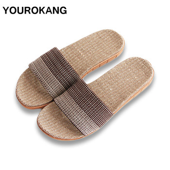 YOUROKANG Summer Men Linen Slippers Newest Indoor Cool Home Slipper Antiskid Lightweight Bedroom Male Shoes Unisex For Lovers 2020 summer cool rhinestones slippers for male gold black loafers half slippers anti slip men casual shoes flats slippers wolf