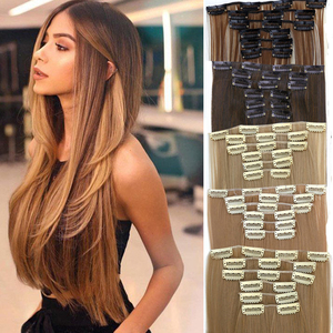 9 colors16 clips Long Straight