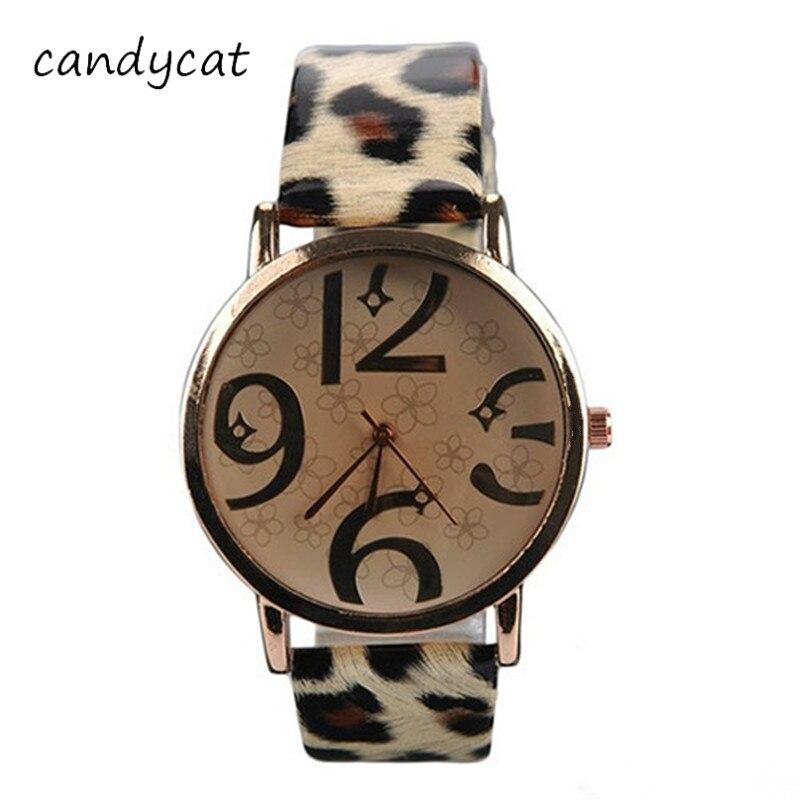 CandyCat Hot Ladies Watches Students Trend Personality Leopard Belt Fashion Watch Big Dial Bracelet Digital Quartz Watch Clock