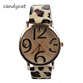 CandyCat Hot Ladies Watches Students Trend Personality Leopard Belt Fashion Watch Big Dial Bracelet