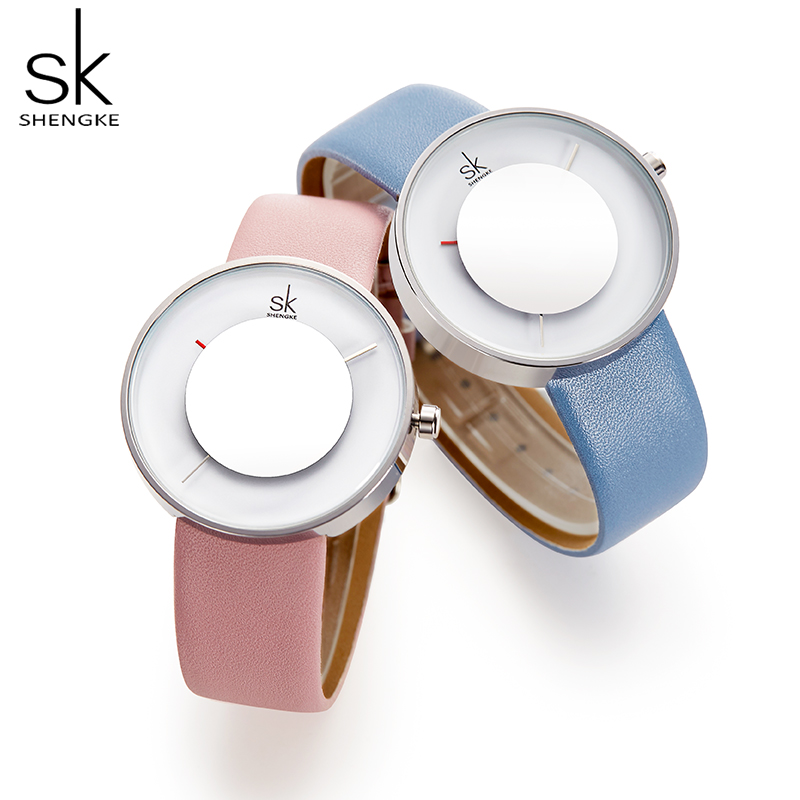 SK New Creative Portable Mirror Dial Glass Women Watch Blue Leather Strap Brand Fashion Quartz Reloj Mujer Watches Feminine