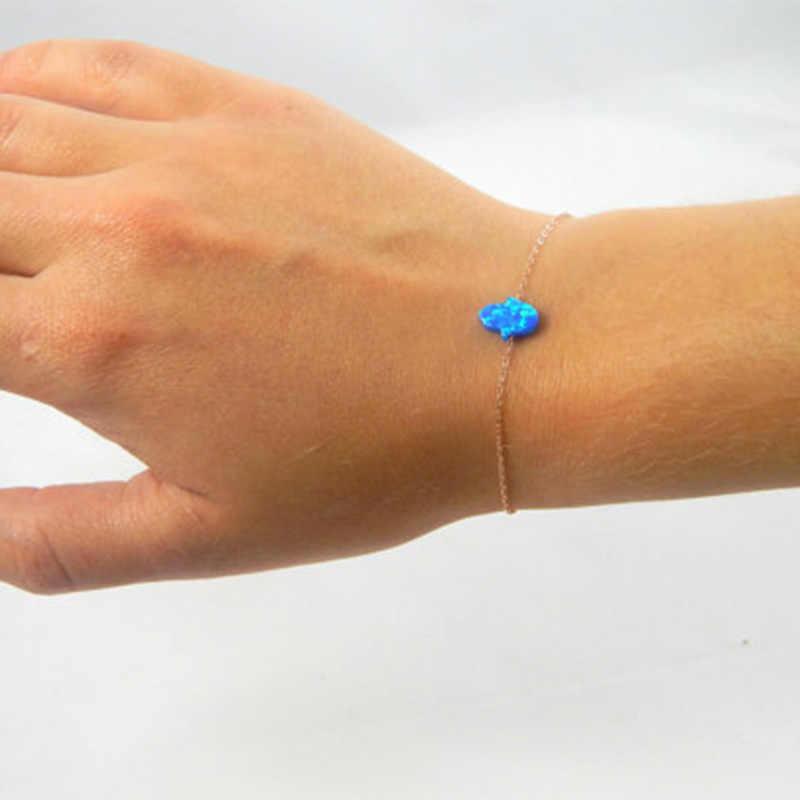Moda cristal resina azul ópalo Fátima pulsera de mano Banglee enlace cadena para mujer Simple minimalismo amuleto joyería de la suerte