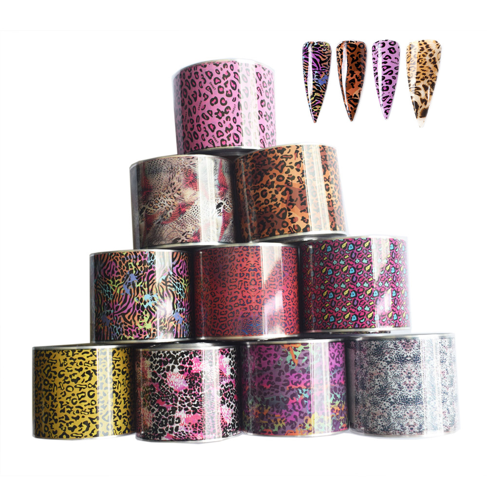 10Roll Leopard Print <font><b>Nail</b></font> Foil <font><b>Sticker</b></font> Set 50M*4cm <font><b>Sexy</b></font> Wild Animal <font><b>Nail</b></font> Art Transfer Foil Holographic Adhesive Wraps Decoration image