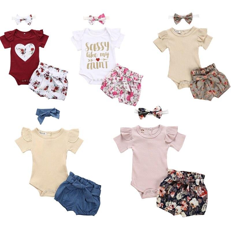 Комплект одежды для новорожденных девочек, комбинезон с коротким рукавом и бантом, платье с шортами и повязка на голову, одежда для маленьки...