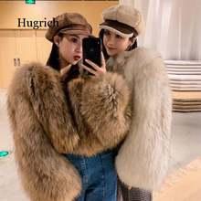 Пальто с мехом Новые короткие Стиль искусственный мех лисы из