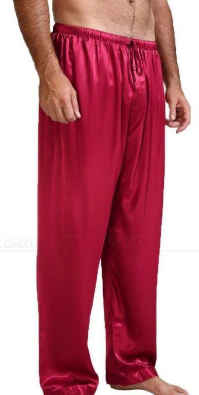 Men's Black Silk Mulberry  Pajamas Pyjamas Pants Sleep Pants Bottoms S-XL HOT