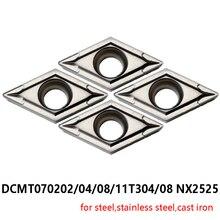 Оригинальный поворотный инструмент DCMT070202 DCMT070204 DCMT070208 DCMT11T304 DCMT11T308 NX2525 вращения 070202 11T304 11T308 вырезывания карбида