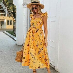 Женское облегающее платье миди без рукавов, желтое ТРАПЕЦИЕВИДНОЕ ПЛАТЬЕ с квадратным вырезом и цветочным принтом, весна-лето 2020