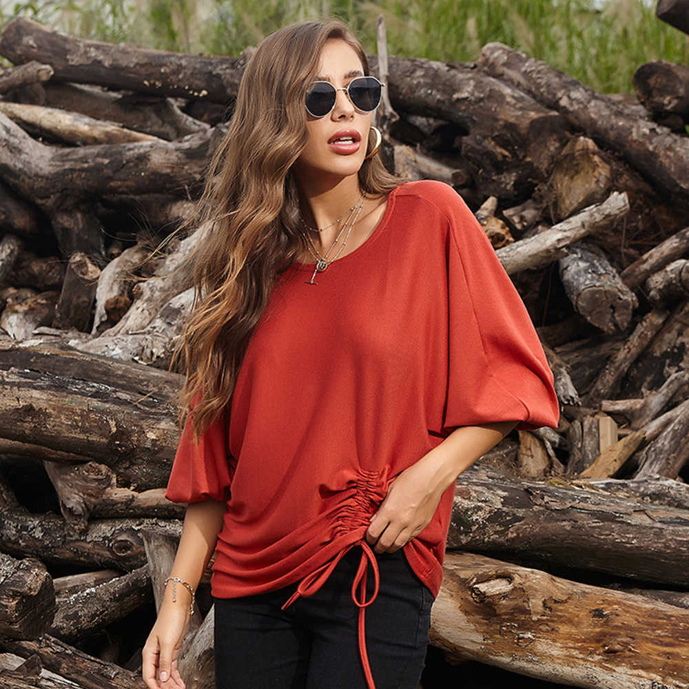 Photno Womens Dot Print Puff Sleeve Round Neck Blouse Casual Loose Solid Pullover Street Top T Shirt