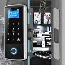Akıllı kapı parmak izi elektrikli kilit elektronik dijital kapı açacağı RFID biyometrik parmak İzi güvenlik camı şifre kartı