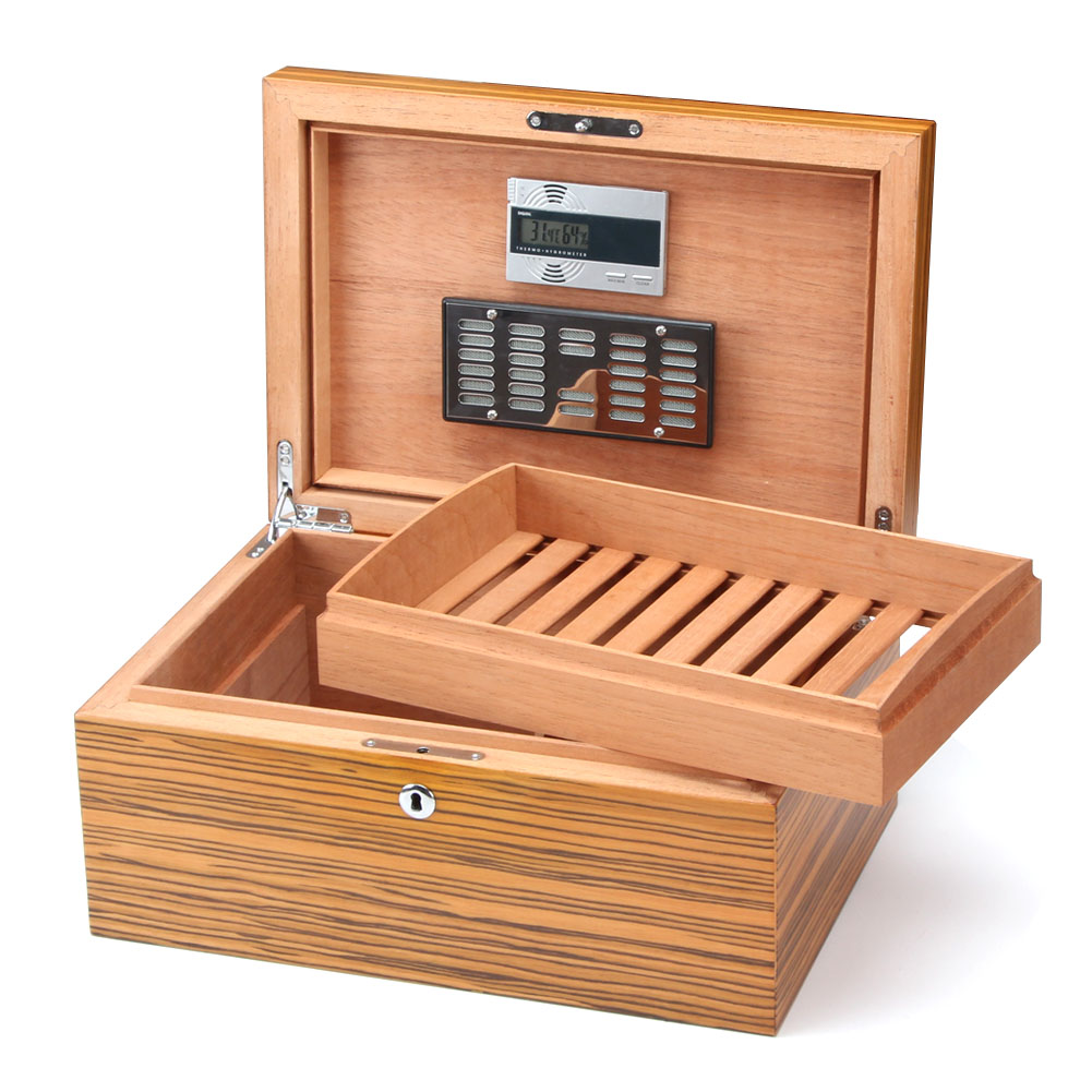 Large Capacity Humidor Cigar Box Cedar Wood Case Yellow Accessories With Humidifier Hygrometer