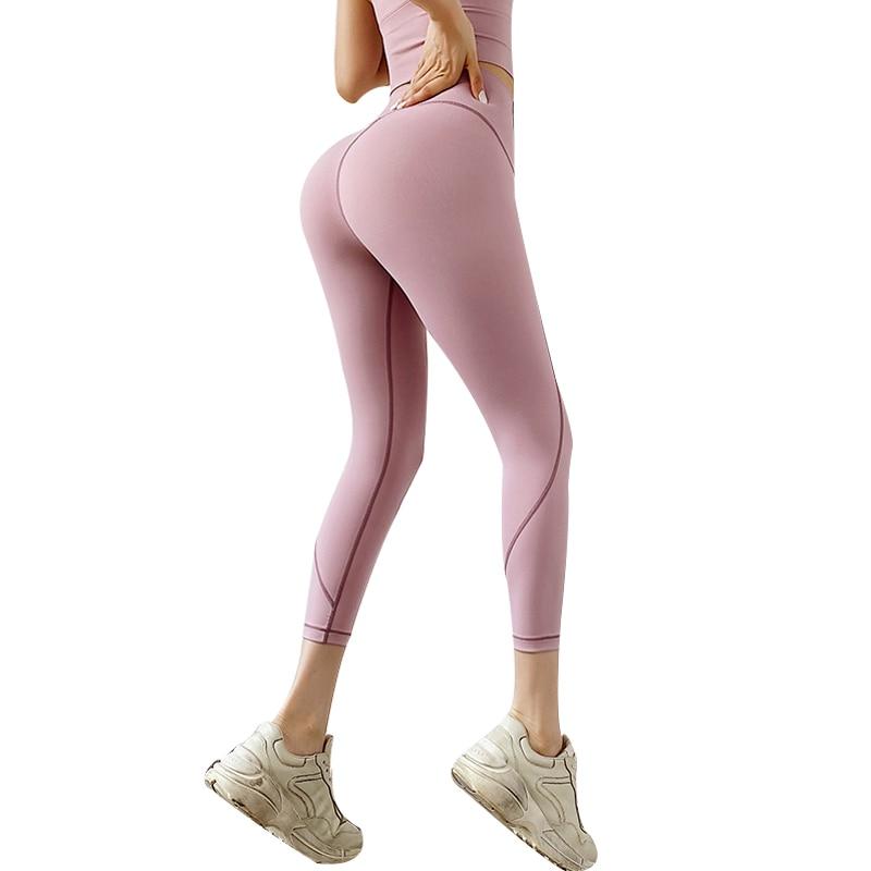 Women Sports Jogger Yoga Pants Women Yoga Pant Elastic Stripe Capris 3/4 Running Trouser Crop Gym Leggings Fitness Tights Female
