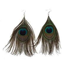 1 Pair Peacock Multicolor Feather Fashion Dangle Earrings