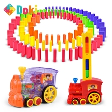 Doki Toy Domino Train Toy Set Rally Electric Train Model Colorful Domino Game Building Blocks Car Truck Stacking Kids Gift