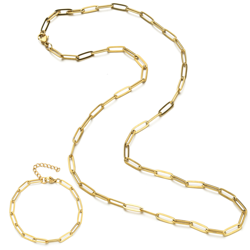 ZMZY Fashion Statement Stainless Steel Chain Jewelry Set Choker Collar Necklaces Bracelets for Women DIY Gift Boho Chain Hip Pop