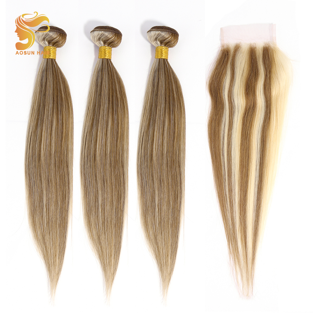 AOSUN HAIR Brazilian Straight Hair Weave Bundles With Closure P8/613 Ombre Color 100% Remy Human Hair Extensions 16-18 Inches