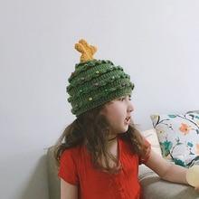 Рождественская хлопковая шапка для ребенка, зимние теплые шапки для женщин и мужчин, модная зеленая шапочка с елкой, вязаная шапка унисекс, украшение, подарок для детей