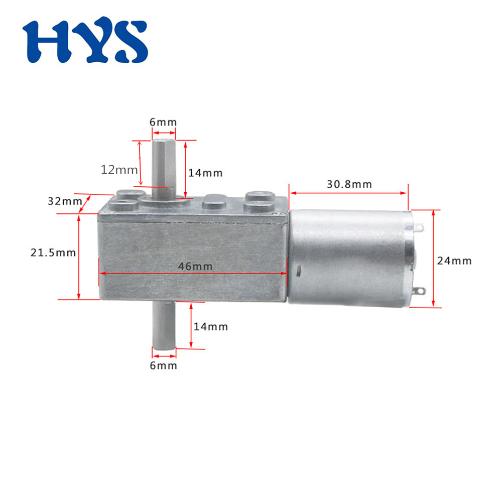 DC 6V 12V 24V Gear Motor Double Shaft Electric Reducer DC 12 Volt V Motor 6/10/18/23/30/40/90/150rpm Mini Motors DC12V JGY370