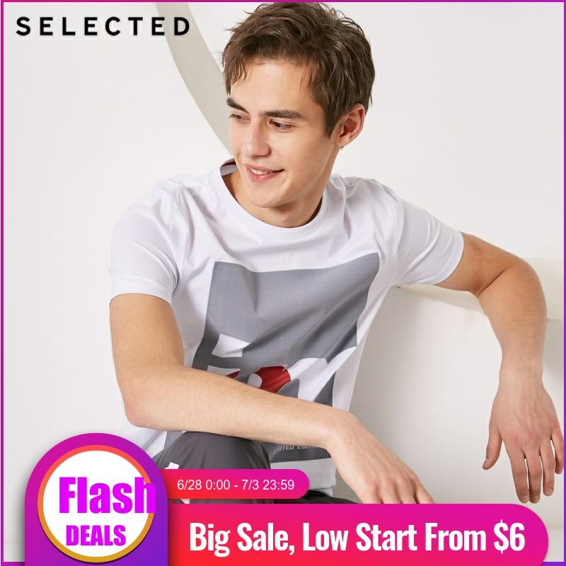 SELECTED Men 100% Cotton Letter Print O-Neck Short-sleeved T-shirt S|419101508