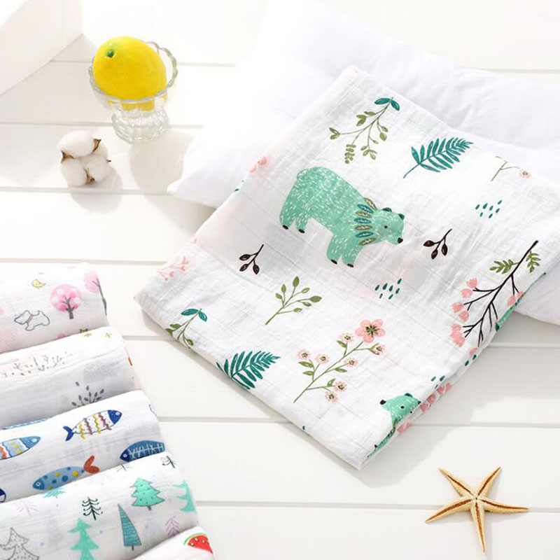 Cotton Baby Blankets Newborn Photography Printed Infantil Baby Boy Baby Girl Sleep Swaddle Muslin Diapers Baby Accessories