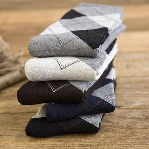 5 пар/лот, мужские хлопковые толстые теплые носки, осенне-зимние Дышащие Модные носки со стразами в деловом стиле для мужчин, носки Sox