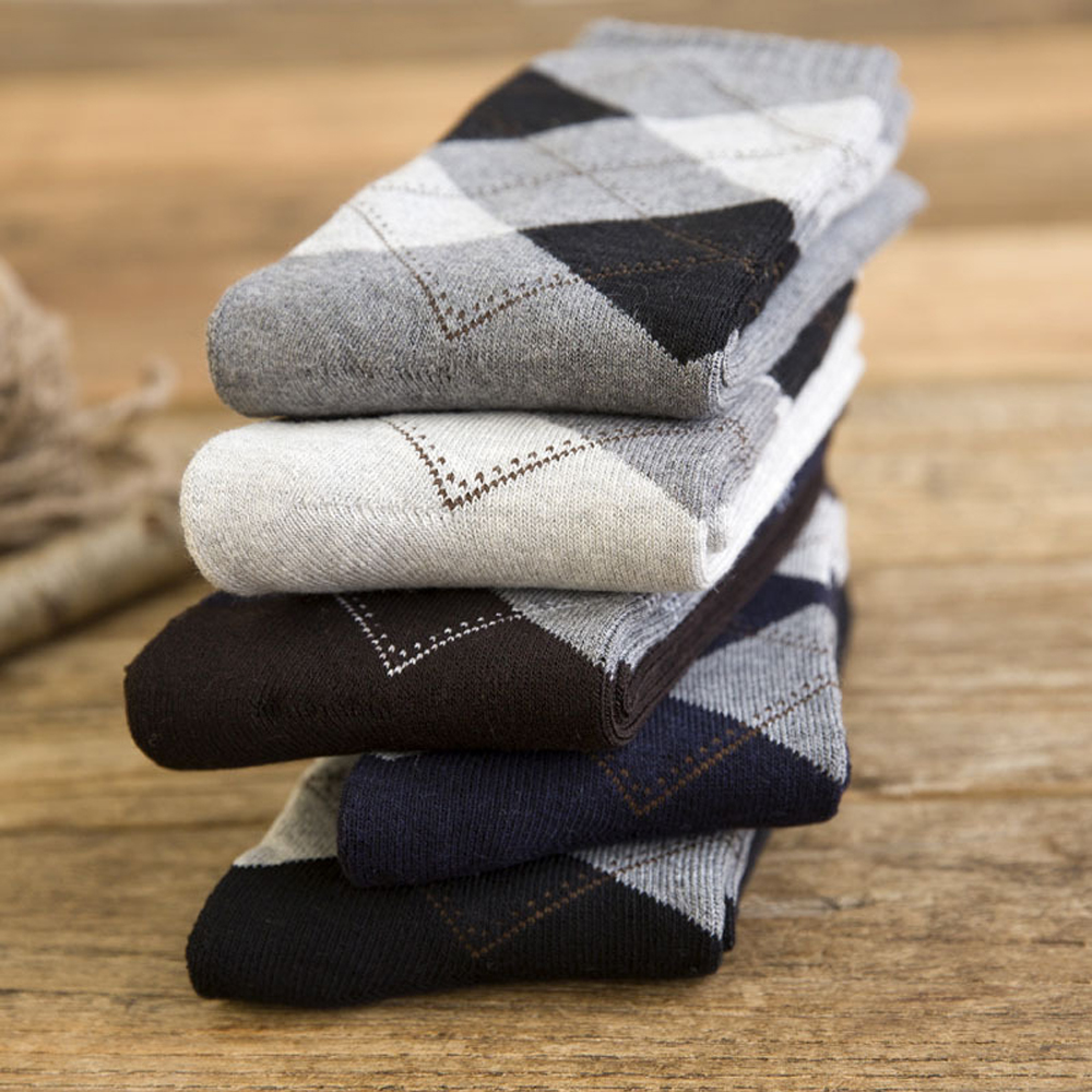 5 Pairs/Lot Men's Cotton Thick Warm Socks Autumn And Winter Breathable Fashion Diamond Business Dress Socks For Male Socks Sox