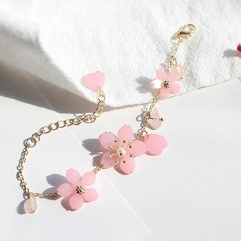 Pulsera de flor de cerezo Rosa pequeña pura y fresca y dulce pulsera de cristal cúbico ajustable pulseras de la nueva flor