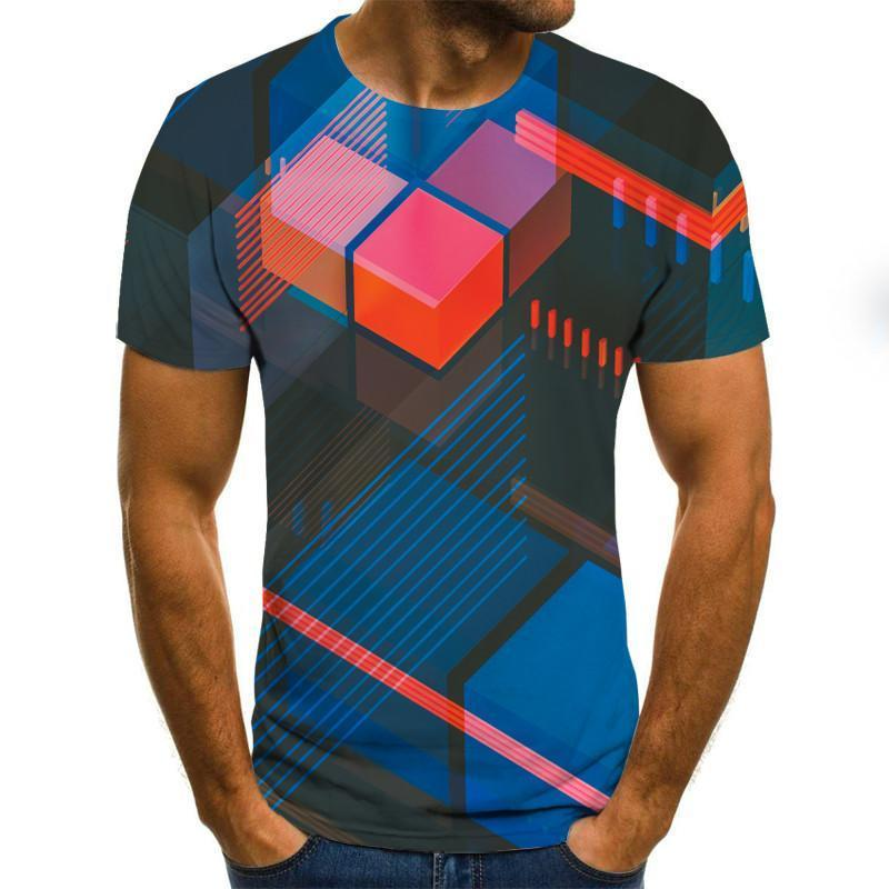 Three -Dimensional Vortex Men Tshirt 3d Printed Summer O -Neck Daily Casual Funny T Shirt 3