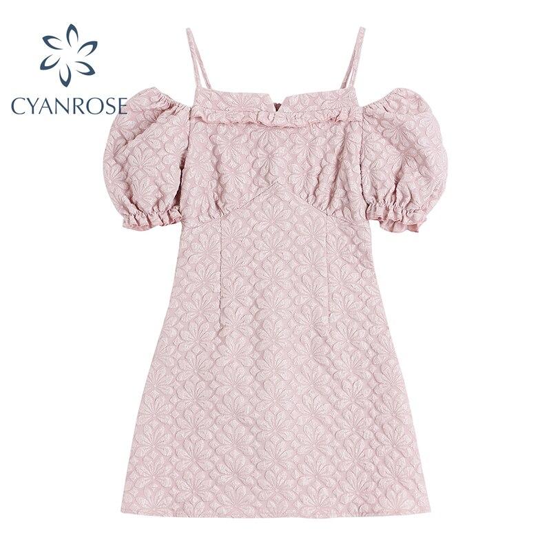 Женское мини-платье с открытыми плечами и высокой талией, милое стильное платье с цветочным принтом, открытой спиной и коротким рукавом-фон...